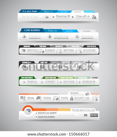 Quality clean web elements for blog and sites. Icons, header, carousel, infographics and a lot of icons. - stock vector