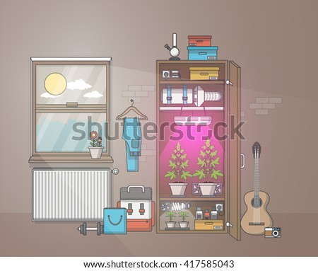 Quality Flat Design of medical cannabis growing indoor in cabinet. Vector illustration - stock vector