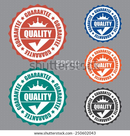quality guarantee icon, tag, label, badge, sign, sticker, vector format - stock vector