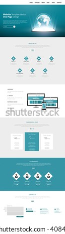 Quality One Page Website Template Vector Eps10, Modern Web Design with flat UI elements. Ideal for Business layout - stock vector