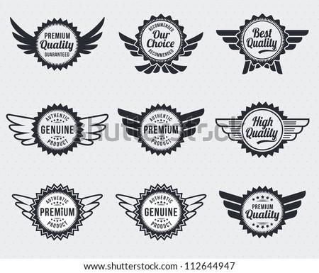 Quality premium label badges - retro vintage style - stock vector