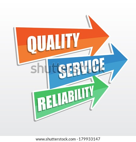 quality, service, reliability - text in arrows, business concept, flat design, vector - stock vector