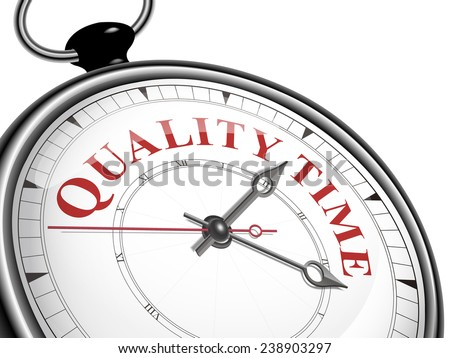 quality time concept clock isolated on white background - stock vector