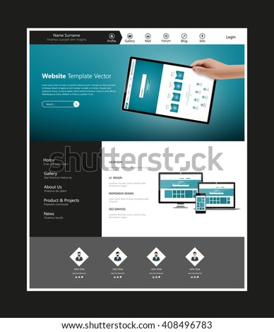 Quality Website Template Vector Eps10, Modern Web Design with flat UI elements. Ideal for Business layout - stock vector