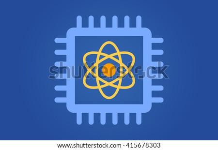 Quantum computer chip flat vector illustration for websites - stock vector