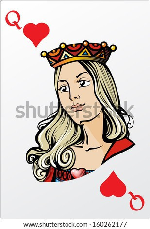 Queen of heart. Deck romantic graphics cards - stock vector