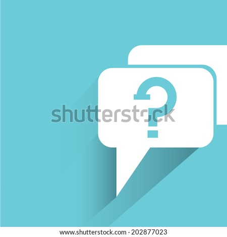 question, blue shadow and flat theme - stock vector