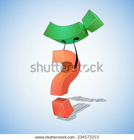 Question  defeated answer. Question mark  defeated exclamation point. - stock vector