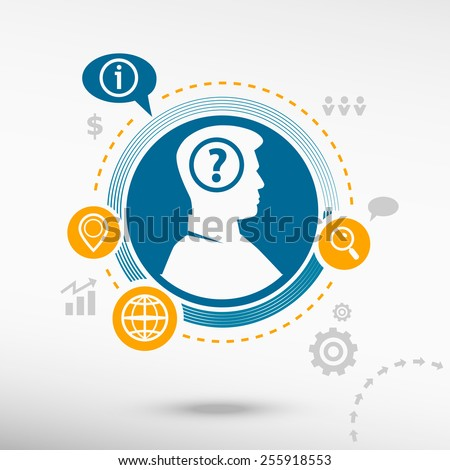 Question mark icon and male avatar profile picture. Flat design vector illustration concept for reaching goals.  - stock vector