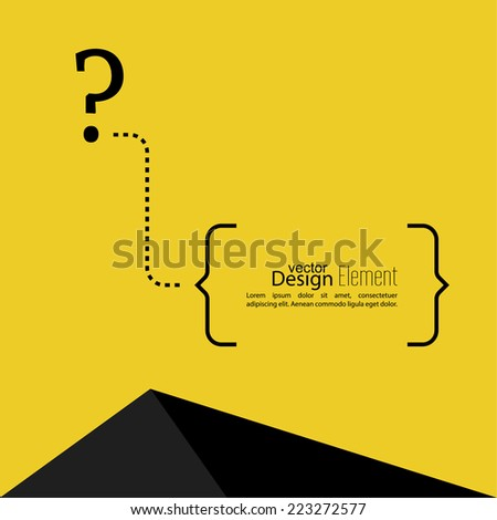 Question mark icon. Help symbol. FAQ sign on a yellow background with a triangle. vector. text in brackets - stock vector