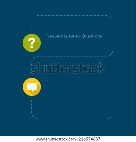 Question mark icon with long shadow. Help symbol. FAQ sign on a blue background. vector concept question answer. for mobile apps - stock vector