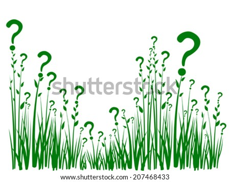 Question mark made from grass isolated on white background.  vector illustration  - stock vector