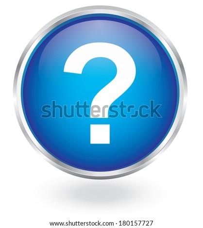 question mark metal button - stock vector