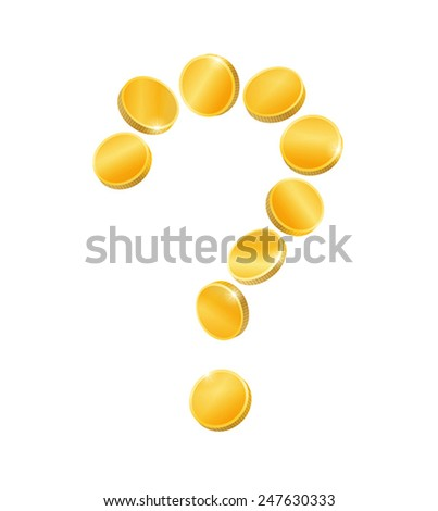 Question mark of gold coins, isolated on white background - stock vector