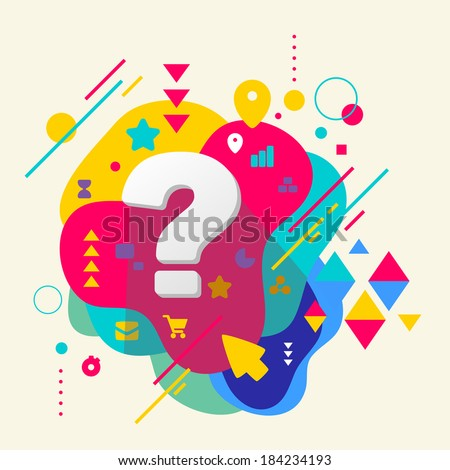 Question mark on abstract colorful spotted background with different elements. Flat design. - stock vector