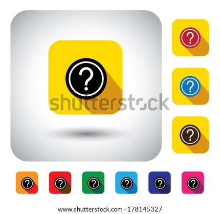 question mark sign on button - flat design vector icon. This long shadows graphic symbol also represents website FAQ, problem areas, asking questions, expressing doubts, who, what, when, why, which - stock vector