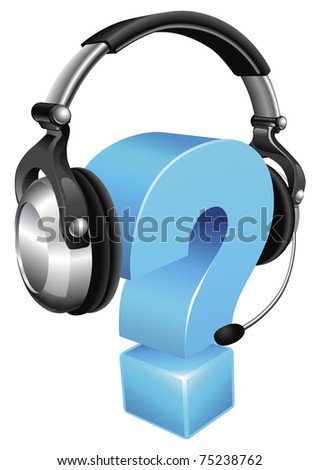 Question mark wearing a phone headset concept for call centre or online support - stock vector