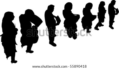 queue standing waiting - stock vector