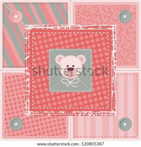 Quilt decorative pattern or background with teddy bear - stock vector