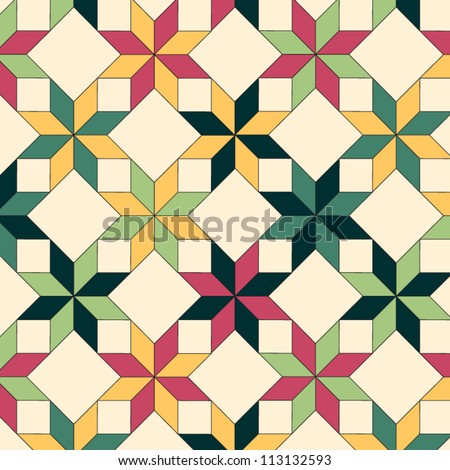 Quilt seamless pattern, vector - stock vector