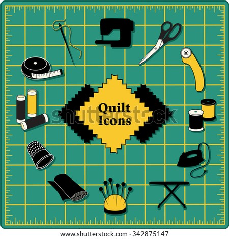 Quilting Icons for DIY sewing: pins, pincushion, needle, thread, iron, ironing board, scissors, bobbins, cloth, sewing machine, rotary cutter, thimble, tape measure on green self healing cutting mat.  - stock vector