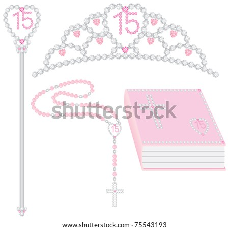 Quinceanera collection including tiara, scepter, rosary and bible. Vector - stock vector