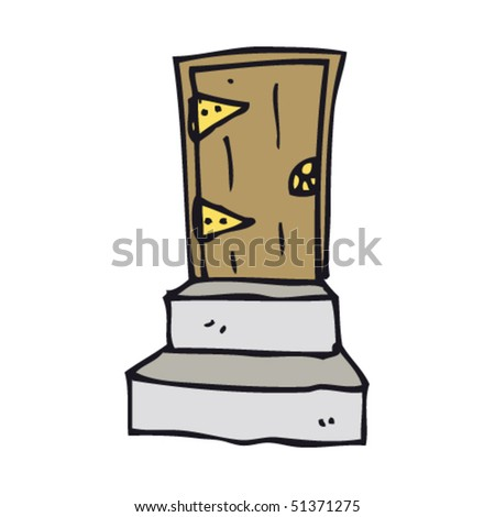 quirky drawing of a door and steps - stock vector