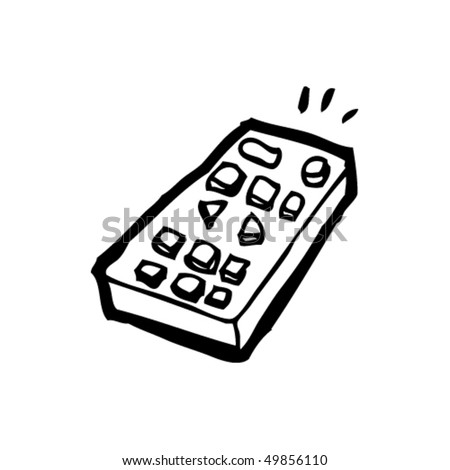 quirky drawing of a remote control - stock vector