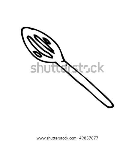 Coffee Spoon Drawing Quirky Drawing of a Slotted