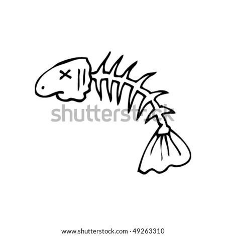 Fish Bones Drawing Quirky Drawing of Fish Bones