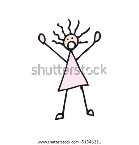 quirky drawing of frightened stick woman - stock vector