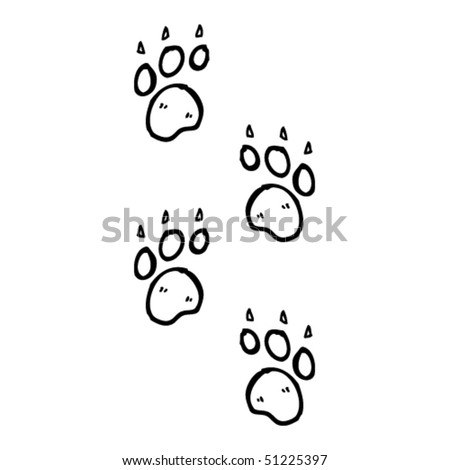 quirky drawing of paw prints - stock vector