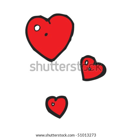 quirky drawing of valentine's day hearts - stock vector
