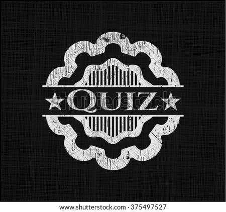 Quiz chalk emblem, retro style, chalk or chalkboard texture - stock vector