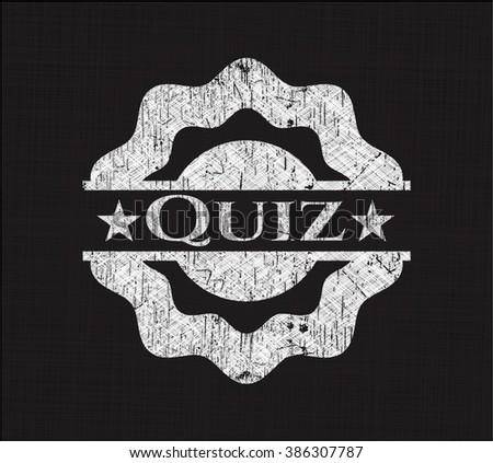 Quiz chalkboard emblem written on a blackboard - stock vector