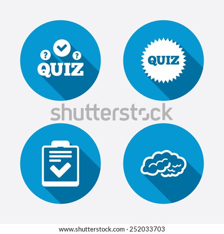 Quiz icons. Human brain think. Checklist symbol. Survey poll or questionnaire feedback form. Questions and answers game sign. Circle concept web buttons. Vector - stock vector