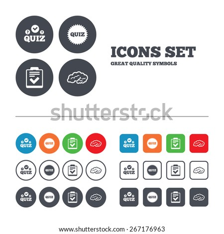 Quiz icons. Human brain think. Checklist symbol. Survey poll or questionnaire feedback form. Questions and answers game sign. Web buttons set. Circles and squares templates. Vector - stock vector