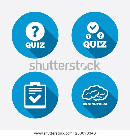 Quiz icons. Human brain think. Checklist with check mark symbol. Survey poll or questionnaire feedback form sign. Circle concept web buttons. Vector - stock vector