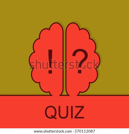 Quiz sign with outline brain icon. Concept of mental, voting,psychology, meditation, game. Survey poll or questionnaire feedback form. Questions and answers game sign.  - stock vector