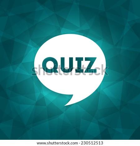 Quiz web icon on abstract triangular geometric background. Vector illustration - stock vector