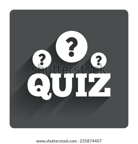 Quiz with question marks sign icon. Questions and answers game symbol. Gray flat square button with shadow. Modern UI website navigation. Vector - stock vector