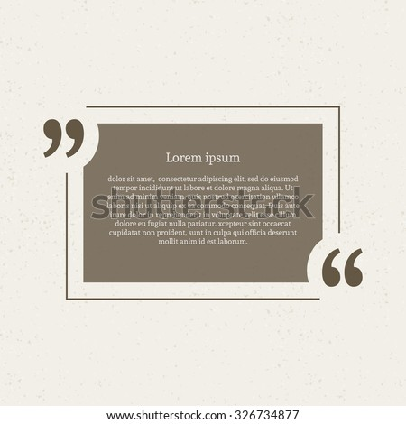 Quotation mark speech bubble. Empty quote blank citation template. Rectangle design element for business card, paper sheet, information, note, message, motivation, comment etc. Vector illustration. - stock vector