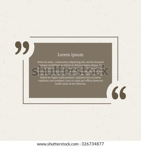 Quotation mark speech bubble. Empty quote blank citation template. Rectangle design element for business card, paper sheet, information, note, message, motivation, comment etc. Vector illustration. - stock vector