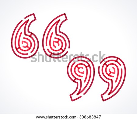 Quotation marks symbol. Transparent overlapping red linear vector labyrinth  - stock vector
