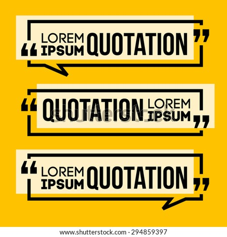 Quotation Speech banner. Quote vector set icon. - stock vector