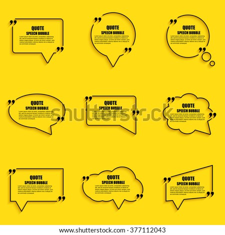 Quote speech bubble vector design template. Circle business card template, paper sheet, information, text. Print design. Short quotes in quotation marks. - stock vector
