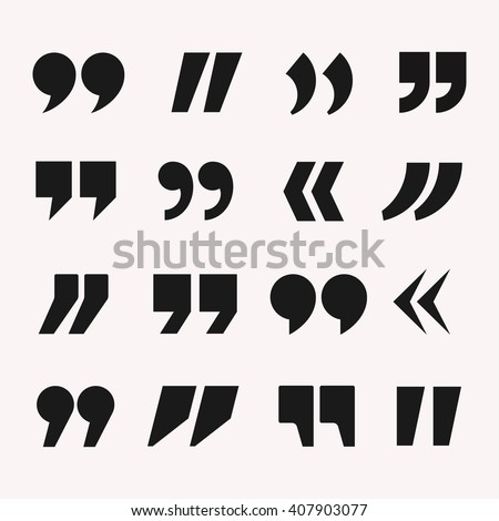 Quotes icon vector set. Quote marks black symbol  isolated from background. Quotes design in modern flat style. Quotes template collection for citations.  - stock vector