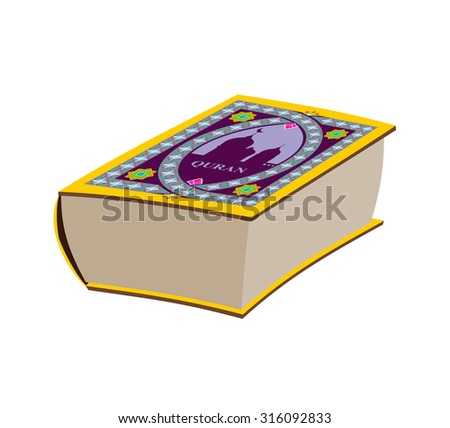 Quran. Great old book. Book with Arabic pattern. Vector illustration - stock vector