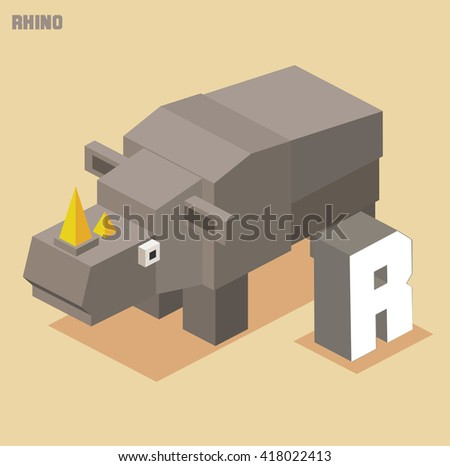 R for Rhino. Animal Alphabet collection. vector illustration - stock vector