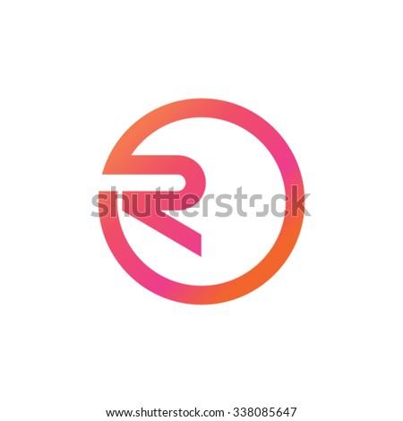 R in circle logotype design - stock vector